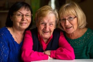 Happy Elderly Mother with Daughters!