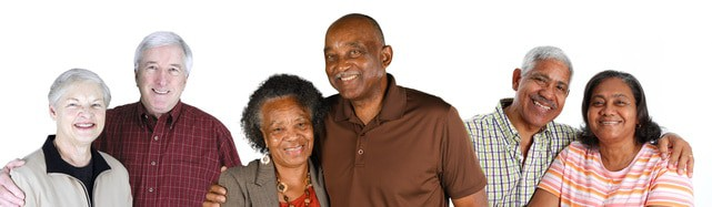 Group of elderly couples of all races aged 60 to 90